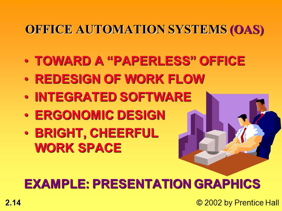2.14 © 2002 by Prentice Hall OFFICE AUTOMATION SYSTEMS (OAS) TOWARD A PAPERLESS OFFICETOWARD A PAPERLESS OFFICE REDESIGN OF WORK FLOWREDESIGN OF WORK FLOW INTEGRATED SOFTWAREINTEGRATED SOFTWARE ERGONOMIC DESIGNERGONOMIC DESIGN BRIGHT, CHEERFUL WORK SPACEBRIGHT, CHEERFUL WORK SPACE EXAMPLE: PRESENTATION GRAPHICS