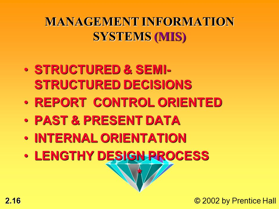 2.16 © 2002 by Prentice Hall STRUCTURED & SEMI- STRUCTURED DECISIONSSTRUCTURED & SEMI- STRUCTURED DECISIONS REPORT CONTROL ORIENTEDREPORT CONTROL ORIENTED PAST & PRESENT DATAPAST & PRESENT DATA INTERNAL ORIENTATIONINTERNAL ORIENTATION LENGTHY DESIGN PROCESSLENGTHY DESIGN PROCESS* MANAGEMENT INFORMATION SYSTEMS (MIS)