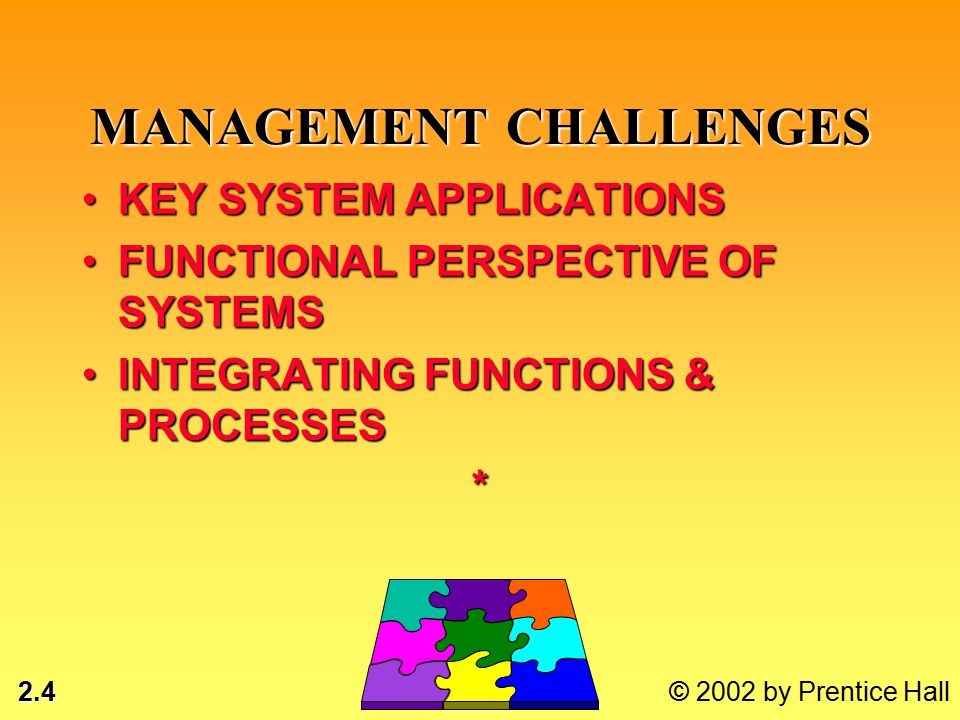 2.15 © 2002 by Prentice Hall MANAGEMENT LEVEL INPUTS: HIGH VOLUME DATAINPUTS: HIGH VOLUME DATA PROCESSING: SIMPLE MODELSPROCESSING: SIMPLE MODELS OUTPUTS: SUMMARY REPORTSOUTPUTS: SUMMARY REPORTS USERS: MIDDLE MANAGERSUSERS: MIDDLE MANAGERS EXAMPLE: ANNUAL BUDGETING MANAGEMENT INFORMATION SYSTEMS (MIS)