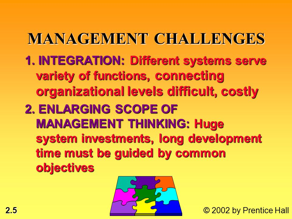 2.5 © 2002 by Prentice Hall MANAGEMENT CHALLENGES 1.