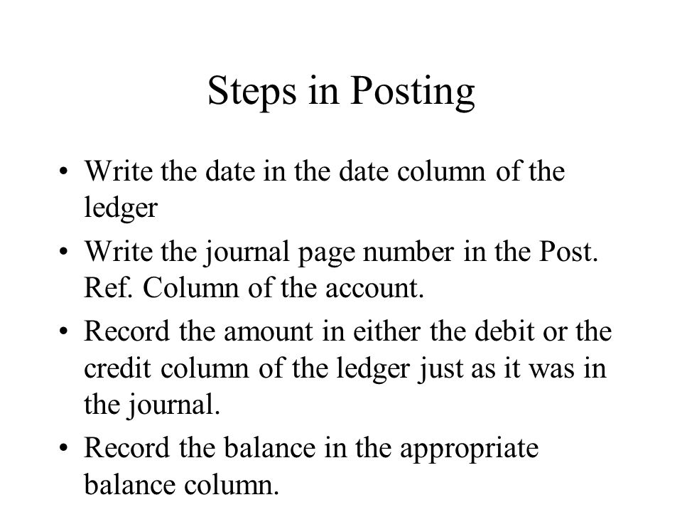 Steps in Posting Continued Return to the journal and write the account number in the Post.