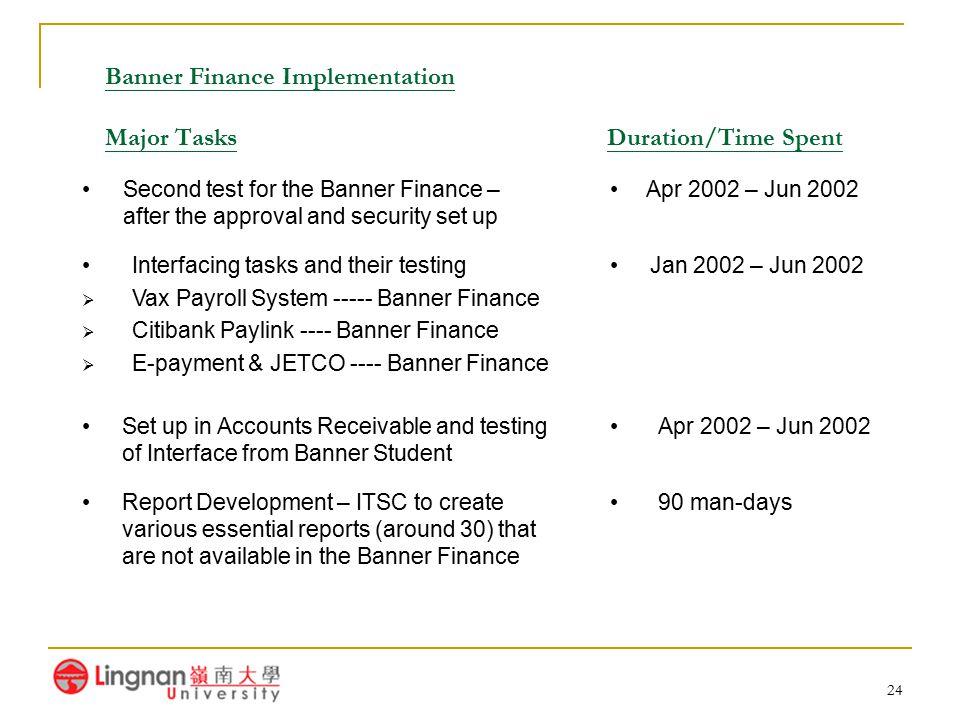 24 Banner Finance Implementation Major Tasks Duration/Time Spent Interfacing tasks and their testing  Vax Payroll System ----- Banner Finance  Citib