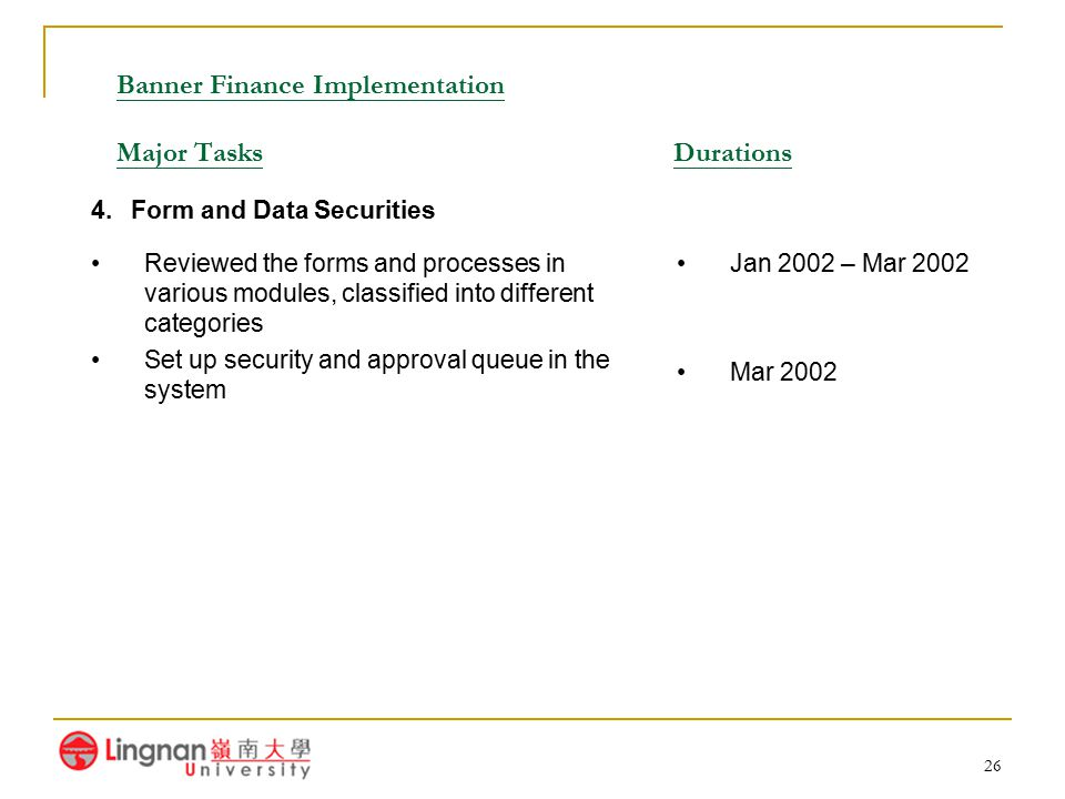 26 Banner Finance Implementation Major Tasks Durations Reviewed the forms and processes in various modules, classified into different categories Set u