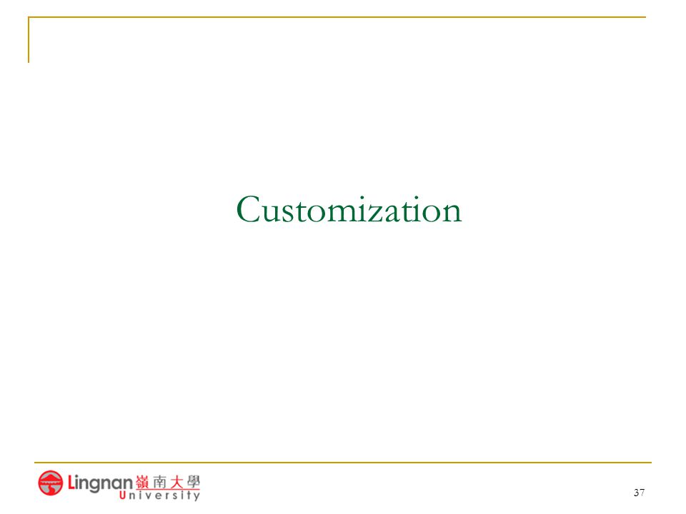 37 Customization