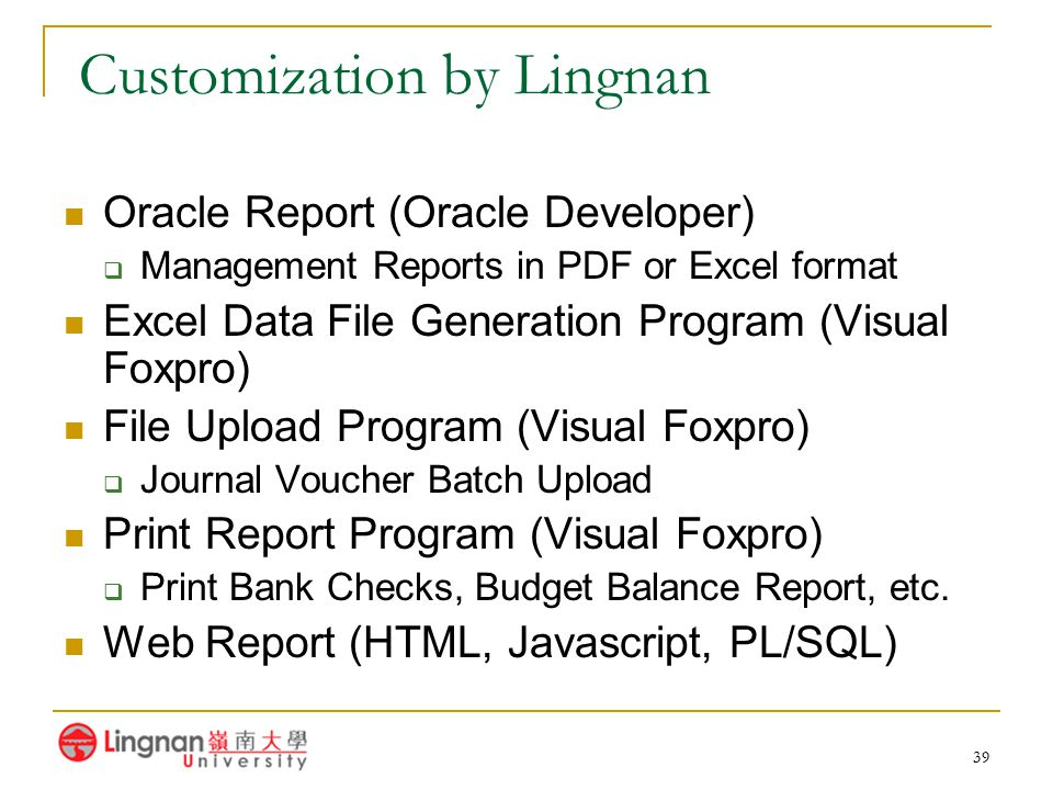 39 Customization by Lingnan Oracle Report (Oracle Developer)  Management Reports in PDF or Excel format Excel Data File Generation Program (Visual Fo