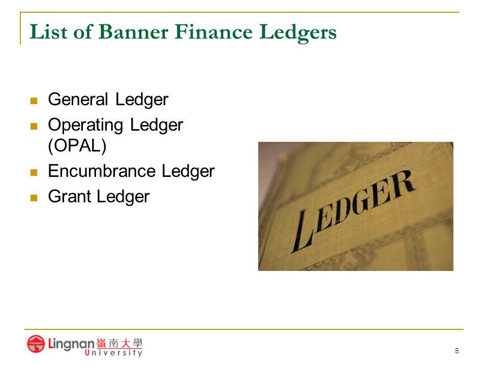 8 List of Banner Finance Ledgers General Ledger Operating Ledger (OPAL) Encumbrance Ledger Grant Ledger
