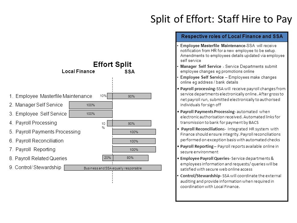Split of Effort: Staff Hire to Pay Record to Report 1.Employee Masterfile Maintenance 2.Manager Self Service 3.Employee Self Service 4.Payroll Processing 5.Payroll Payments Processing 6.Payroll Reconciliation 7.Payroll Reporting 8.