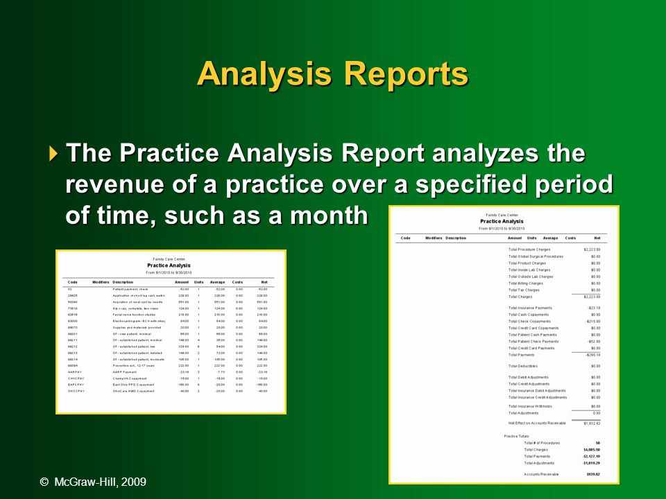 © McGraw-Hill, 2009 Analysis Reports  The Practice Analysis Report analyzes the revenue of a practice over a specified period of time, such as a month
