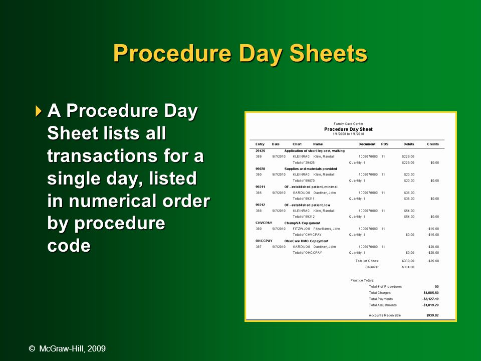 © McGraw-Hill, 2009 Procedure Day Sheets  A Procedure Day Sheet lists all transactions for a single day, listed in numerical order by procedure code