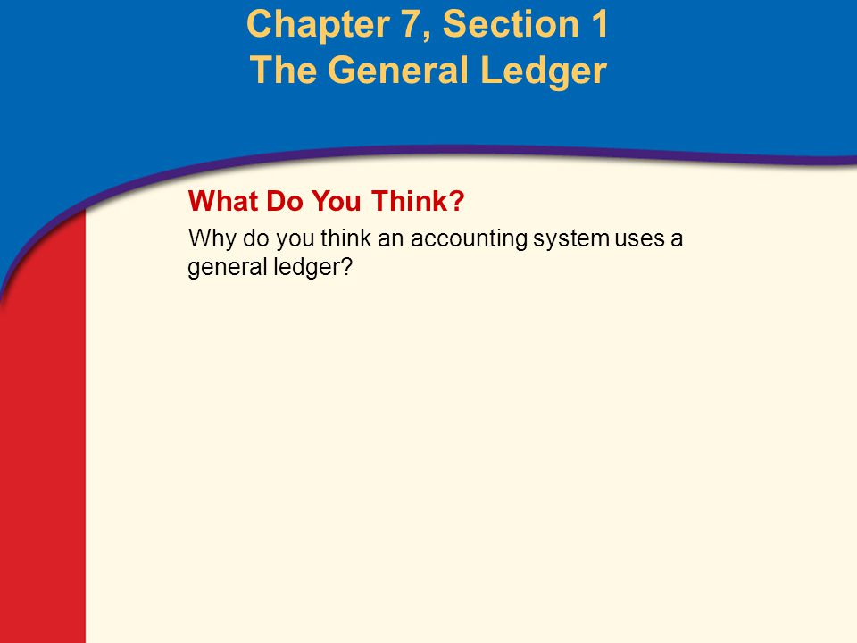 1 Glencoe Accounting Unit 2 Chapter 7 Copyright © by The McGraw-Hill Companies, Inc. All rights reserved. Chapter 7, Section 1 The General Ledger What