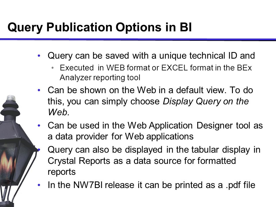 Query Publication Options in BI Query can be saved with a unique technical ID and Executed in WEB format or EXCEL format in the BEx Analyzer reporting tool Can be shown on the Web in a default view.