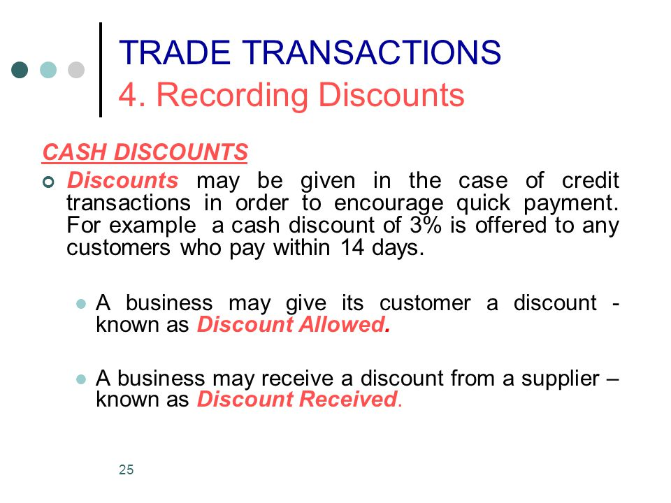 25 CASH DISCOUNTS Discounts may be given in the case of credit transactions in order to encourage quick payment. For example a cash discount of 3% is