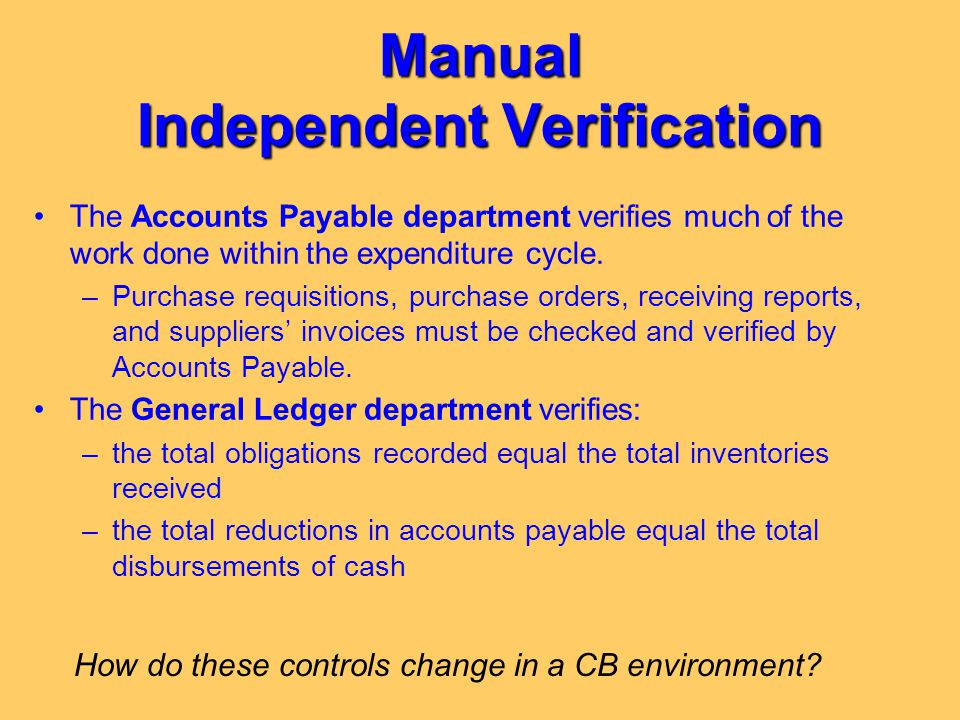 Manual Independent Verification The Accounts Payable department verifies much of the work done within the expenditure cycle. –Purchase requisitions, p