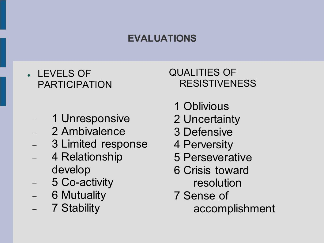 EVALUATIONS LEVELS OF PARTICIPATION  1 Unresponsive  2 Ambivalence  3 Limited response  4 Relationship develop  5 Co-activity  6 Mutuality  7 S