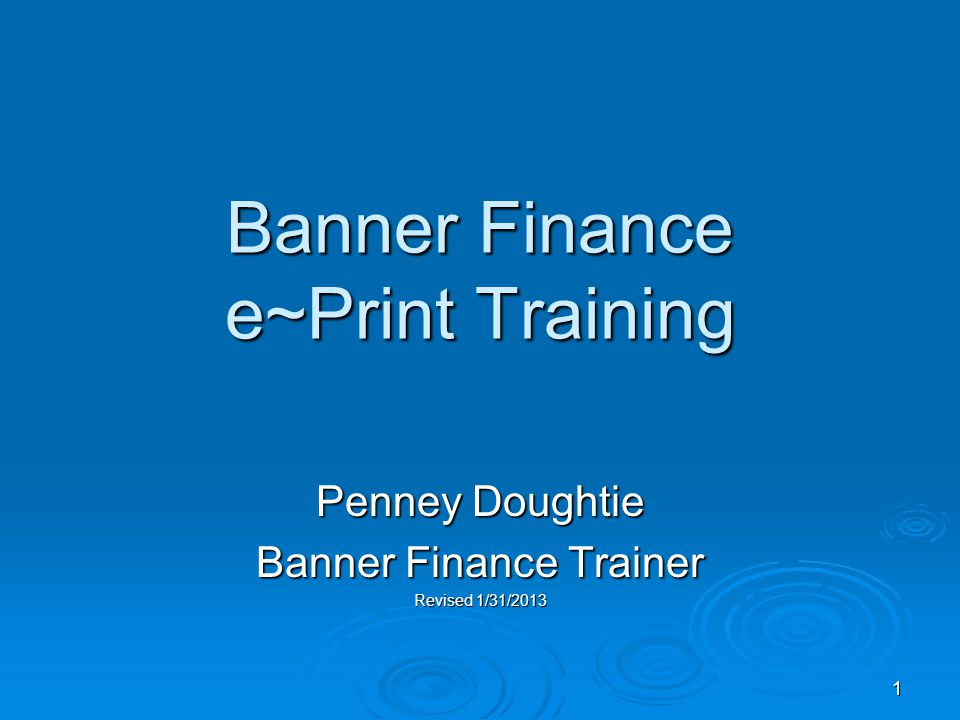 1 Banner Finance e~Print Training Penney Doughtie Banner Finance Trainer Revised 1/31/2013