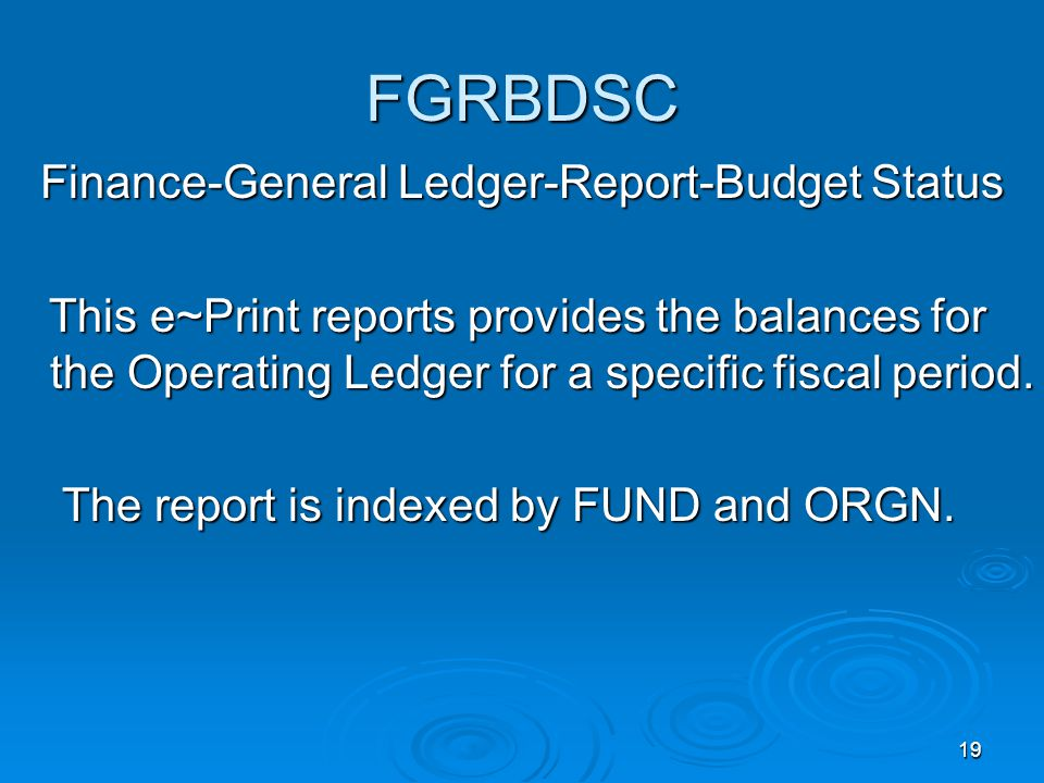 19 FGRBDSC Finance-General Ledger-Report-Budget Status This e~Print reports provides the balances for the Operating Ledger for a specific fiscal period.