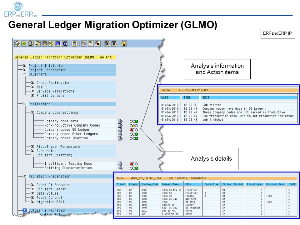 General Ledger Migration Optimizer (GLMO) Analysis information and Action items Analysis details ERPandERP IP