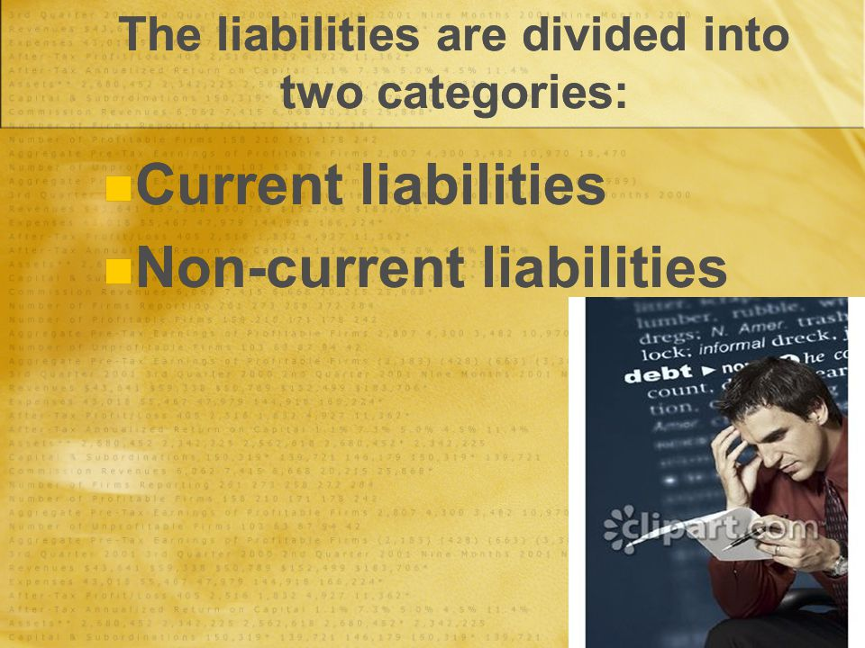 The liabilities are divided into two categories: Current liabilities Non-current liabilities Current liabilities Non-current liabilities