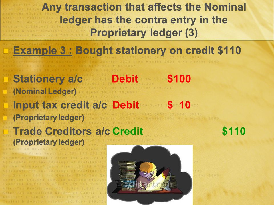 Any transaction that affects the Nominal ledger has the contra entry in the Proprietary ledger (3) Example 3 : Bought stationery on credit $110 Statio