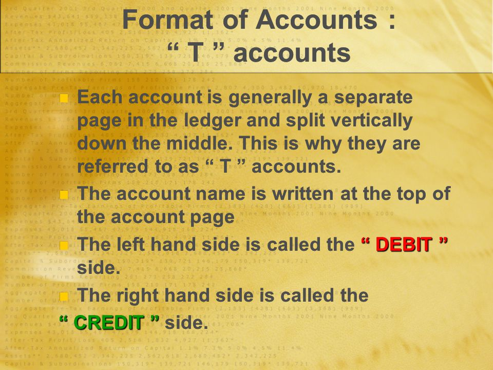 "Format of Accounts : "" T "" accounts Each account is generally a separate page in the ledger and split vertically down the middle. This is why they are"
