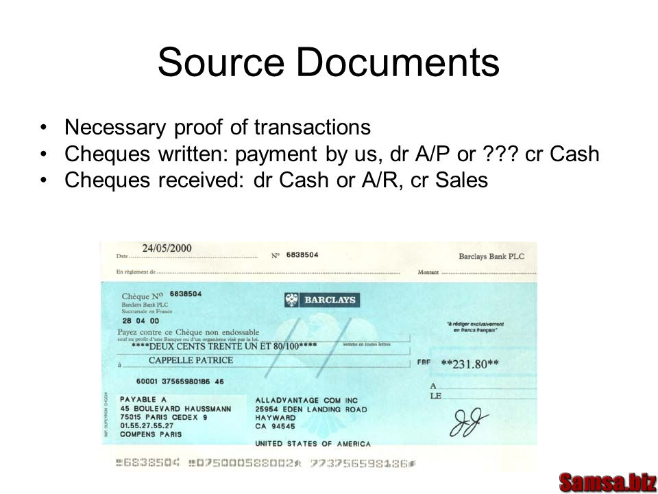 Source Documents Necessary proof of transactions Cheques written: payment by us, dr A/P or ??.