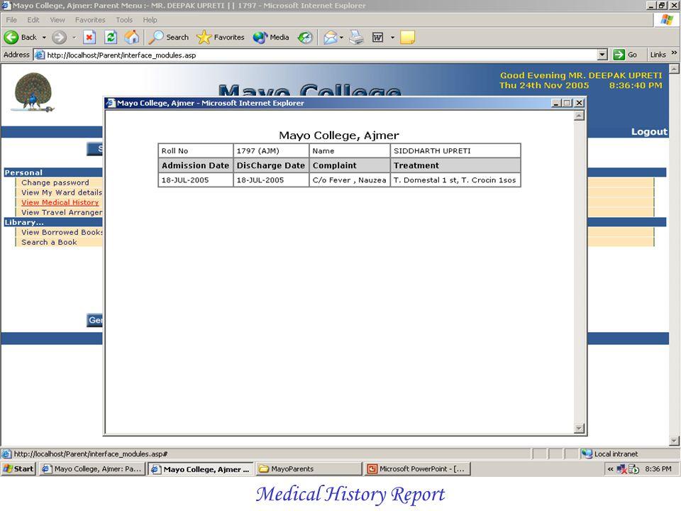 Medical History Report