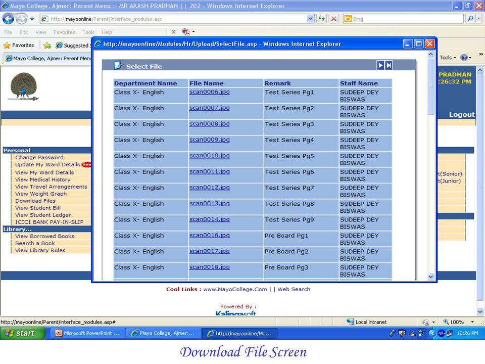 Download File Screen