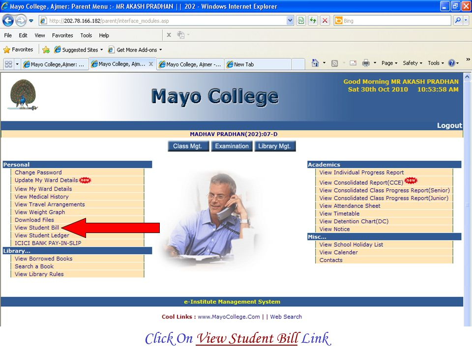 Click On View Student Bill Link