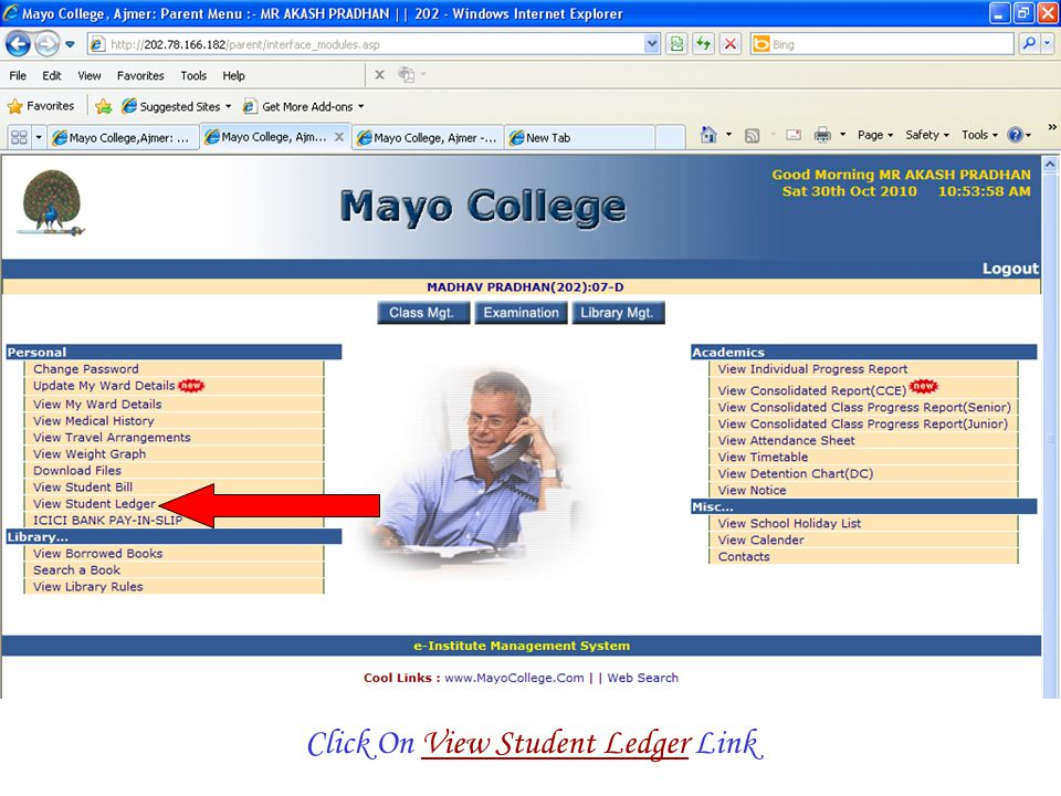 Click On View Student Ledger Link