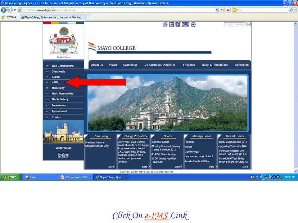 Click On e-IMS Link