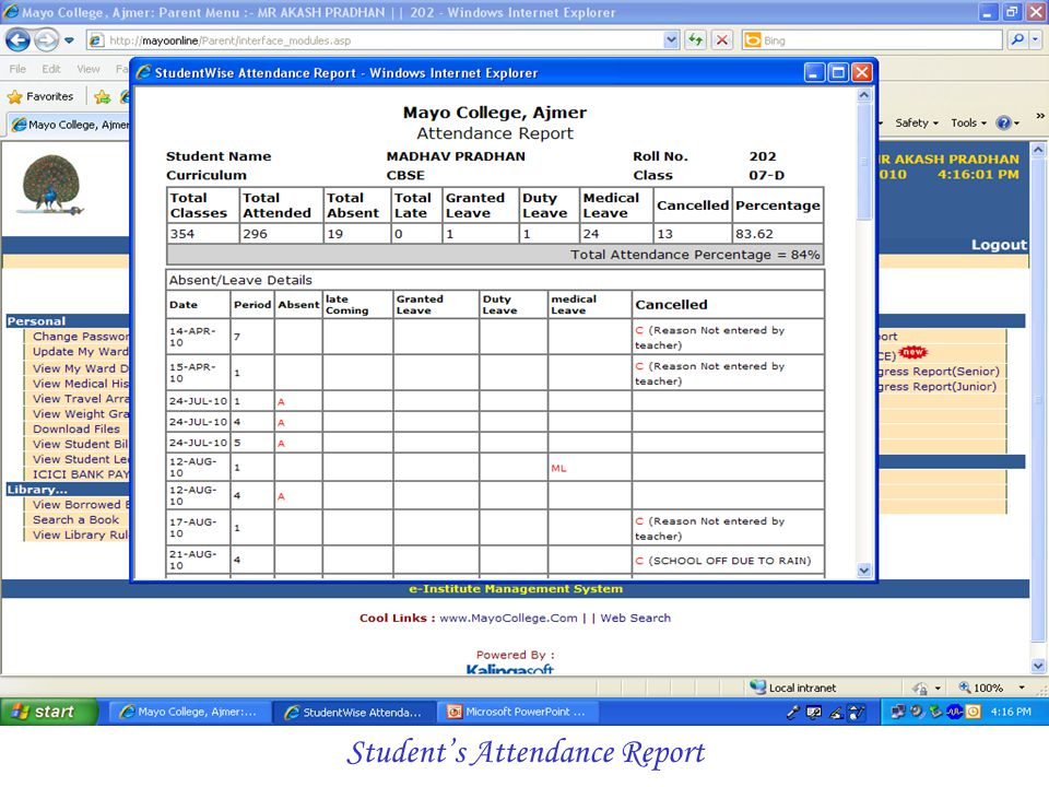 Student's Attendance Report