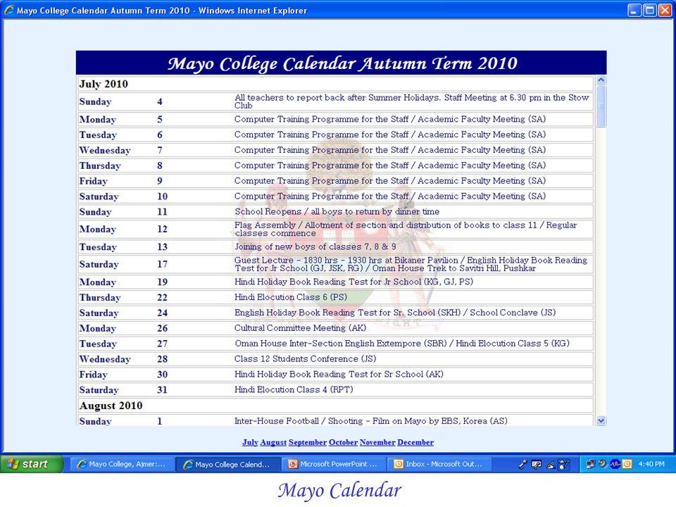 Mayo Calendar