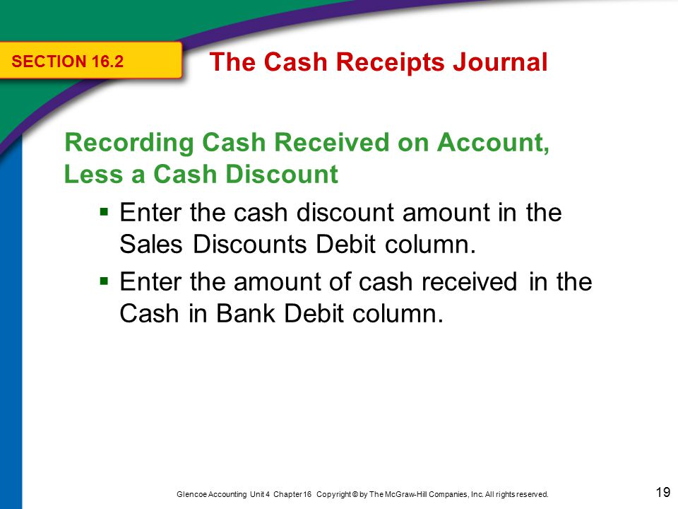 19 Glencoe Accounting Unit 4 Chapter 16 Copyright © by The McGraw-Hill Companies, Inc. All rights reserved. Recording Cash Received on Account, Less a