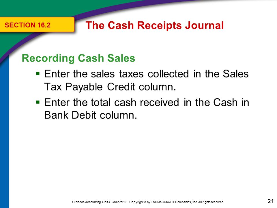 21 Glencoe Accounting Unit 4 Chapter 16 Copyright © by The McGraw-Hill Companies, Inc. All rights reserved. Recording Cash Sales  Enter the sales tax