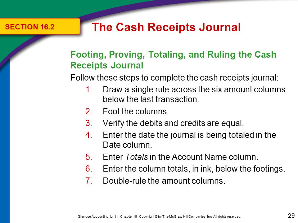 29 Glencoe Accounting Unit 4 Chapter 16 Copyright © by The McGraw-Hill Companies, Inc. All rights reserved. Footing, Proving, Totaling, and Ruling the