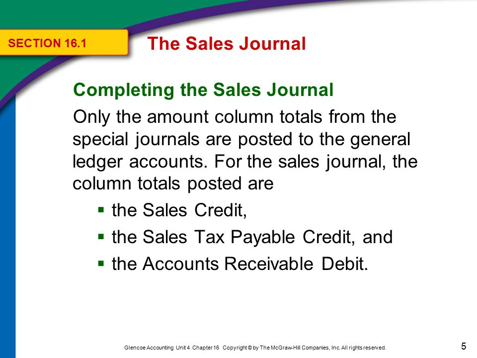 6 Glencoe Accounting Unit 4 Chapter 16 Copyright © by The McGraw-Hill Companies, Inc.