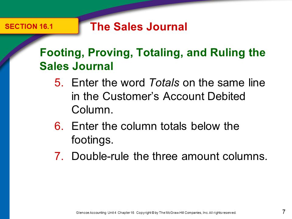 28 Glencoe Accounting Unit 4 Chapter 16 Copyright © by The McGraw-Hill Companies, Inc.