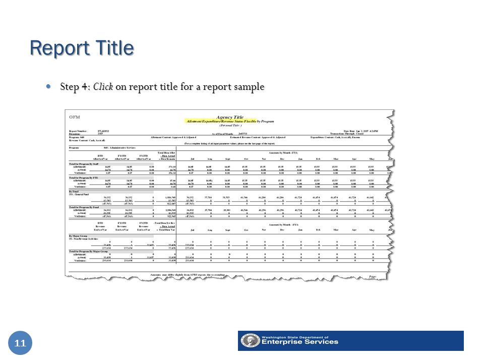 Report Title 11 Step 4: Click on report title for a report sample Step 4: Click on report title for a report sample 11