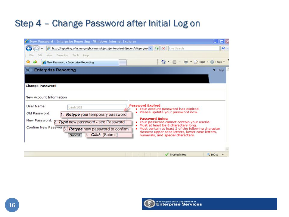 Step 4 – Change Password after Initial Log on 16