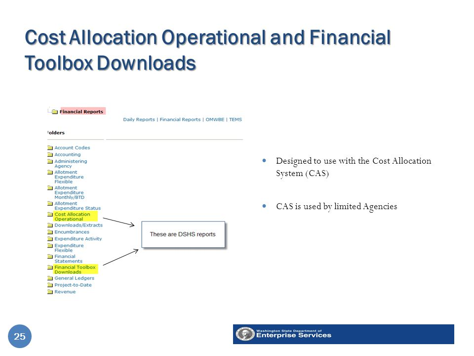 Cost Allocation Operational and Financial Toolbox Downloads Designed to use with the Cost Allocation System (CAS) CAS is used by limited Agencies 25