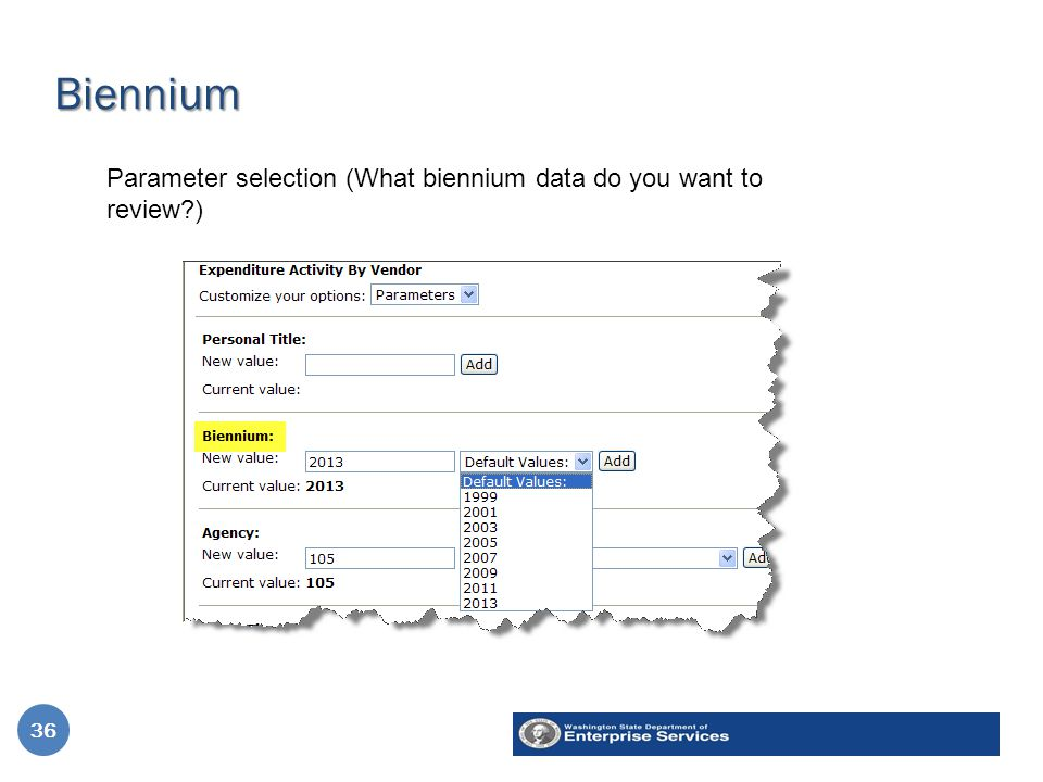 Biennium 36 Parameter selection (What biennium data do you want to review ) 36