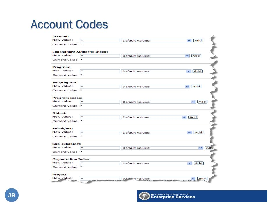 Account Codes 39