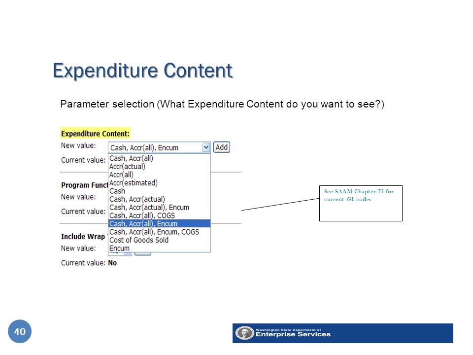 Expenditure Content 40 See SAAM Chapter 75 for current GL codes Parameter selection (What Expenditure Content do you want to see ) 40