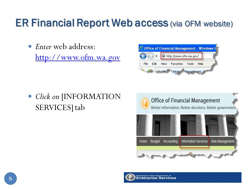 ER Financial Report Web access (via OFM website) Enter web address: http://www.ofm.wa.gov http://www.ofm.wa.gov Click on [INFORMATION SERVICES] tab 1.