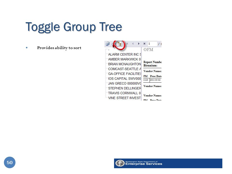Toggle Group Tree 50 Provides ability to sort 50