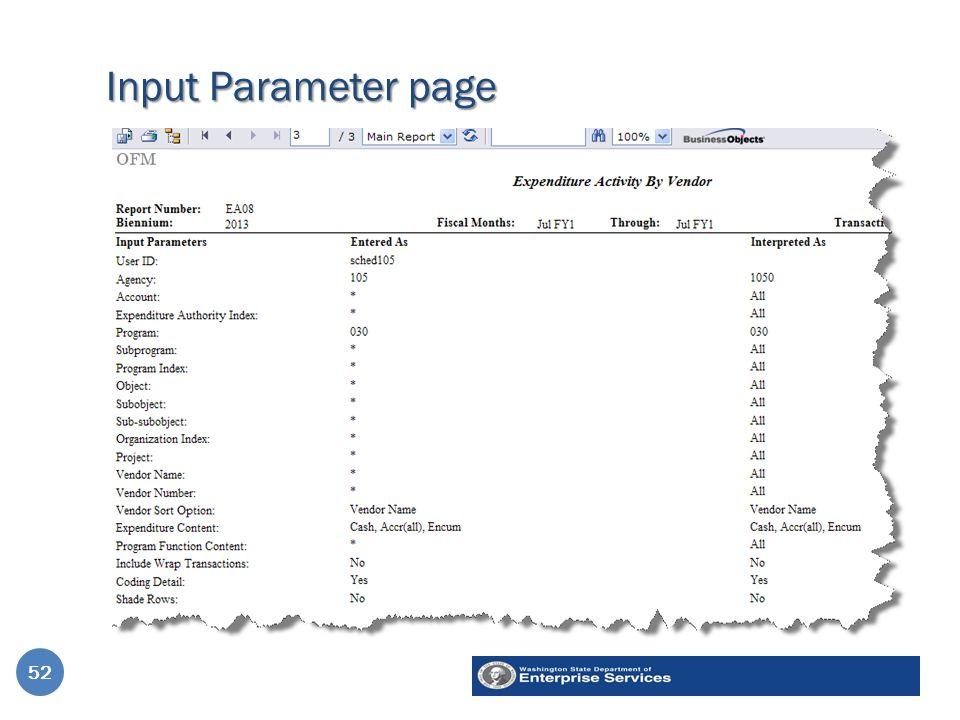 Input Parameter page 52
