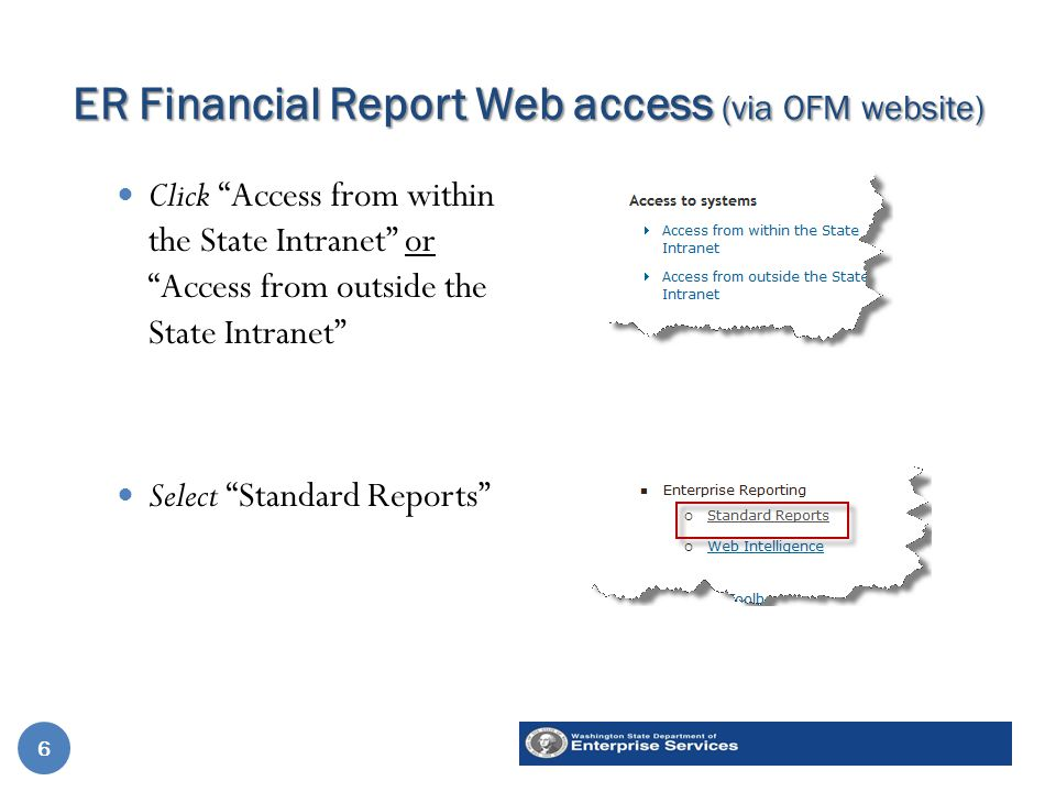 ER Financial Report Web access (via OFM website) Click Access from within the State Intranet or Access from outside the State Intranet Select Standard Reports 1.