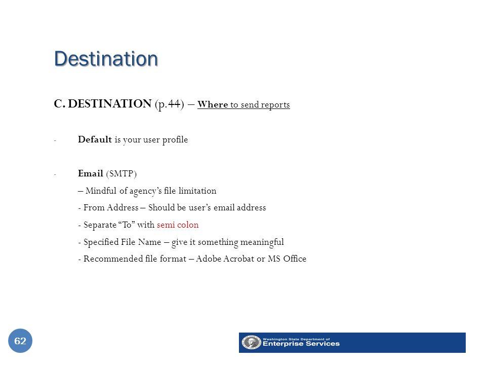 Destination 62 C.