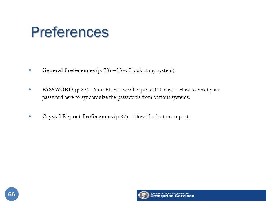 Preferences 66 General Preferences (p.