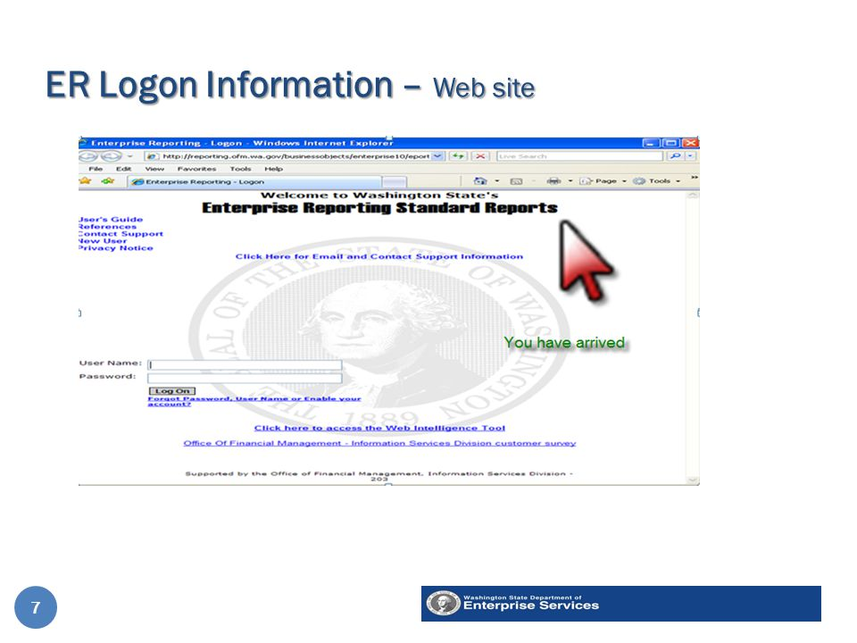 ER Logon Information – Web site 7 7